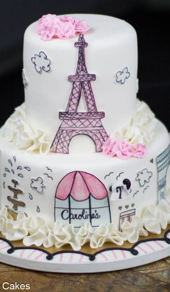 Pink and White Paris Birthday Cake