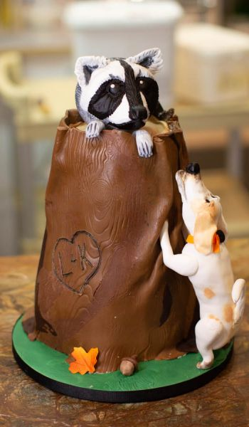 Sculpted Raccoon Hunting Grooms Cake
