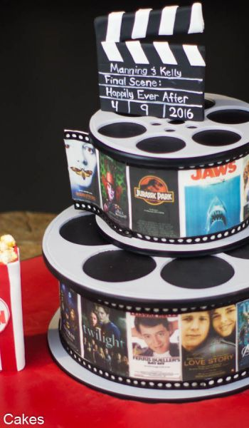 Sculpted Film Reel Grooms Cake