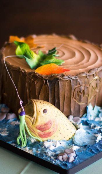 Fishing Themed Sculpted Tree Stump Grooms Cake