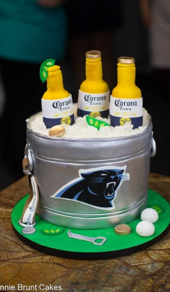 Sculpted Carolina Panthers Beer Bucket Grooms Cake