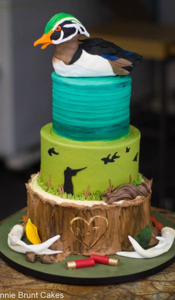 Sculpted Duck and Stump Grooms Cake