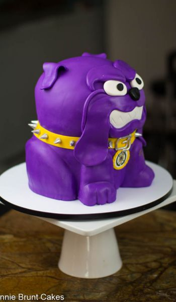 Sculpted Purple Bulldog Grooms Cake