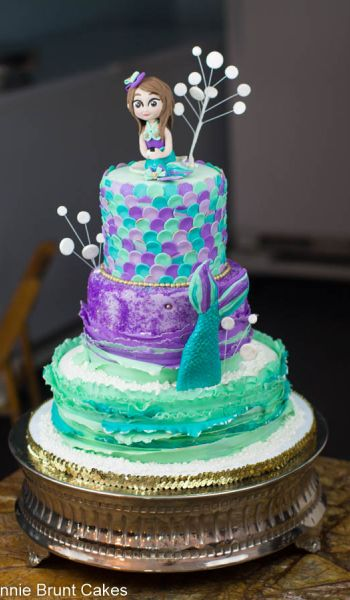 Purple and Teal Mermaid Birthday Cake
