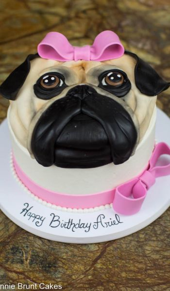 Pink Bow Pug Birthday Cake