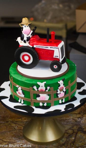 Sculpted Tractor Cow Grooms Cake